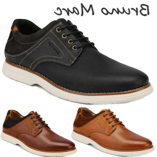 mens genuine leather shoes lace up casual