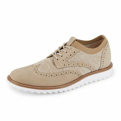 mens hawking knit leather dress casual wingtip