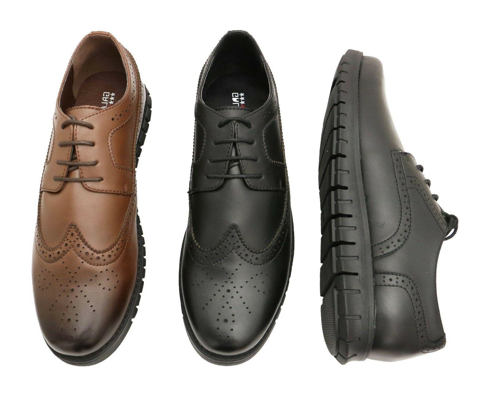 Mens Leather Shoes Oxford Loafers Lace up Work Casual Dress