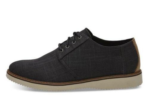 mens toms preston black linen oxford shoes