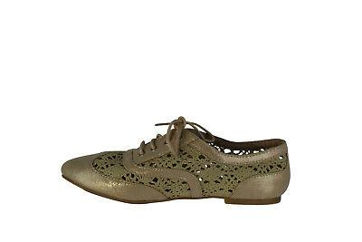 Wanted Shoes Women's Neat Lace-Up Crochet Oxford, Gold,7.5