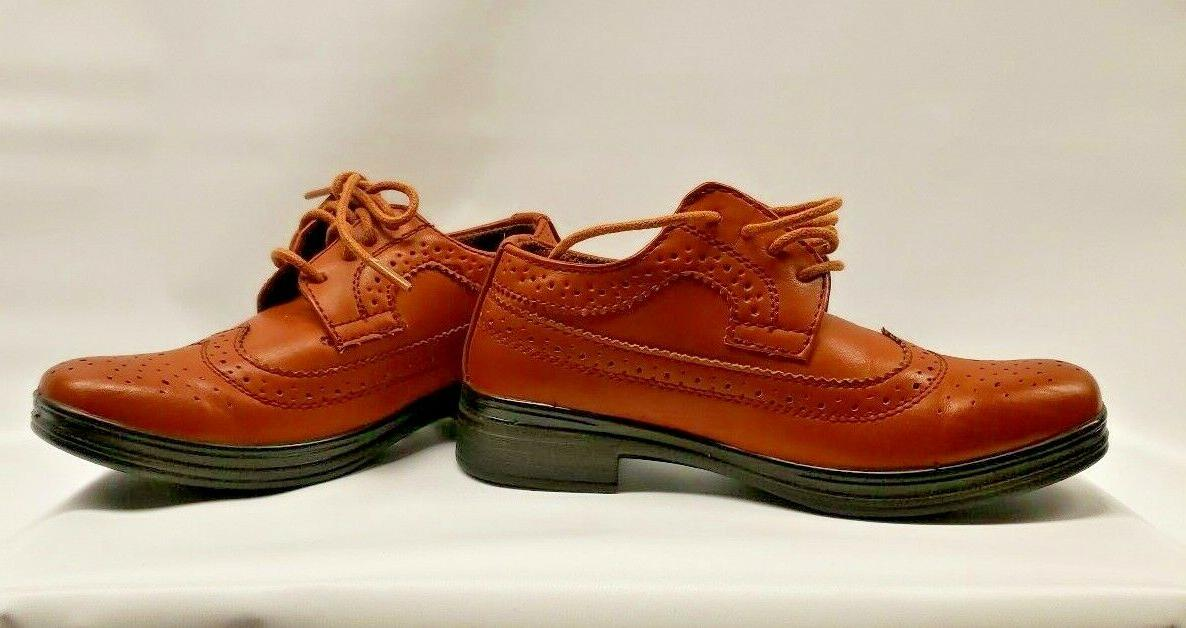 New Stags Ace Boys 11 1/2 Luggage Wing Tip Lace Up Dress Shoes