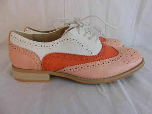 New Babe Pink White Orange Oxfords 8.5 Womens Wing Tip Perforated