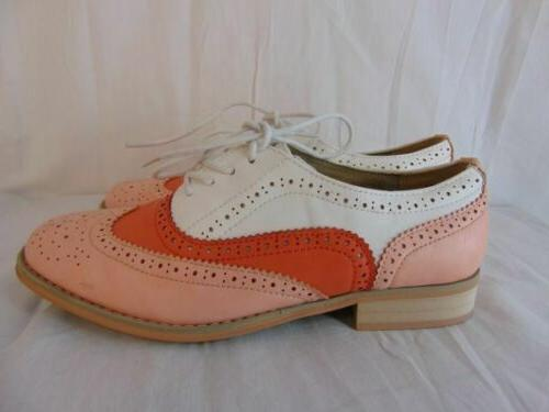 New Wanted Babe Pink White Shoes 8.5 Womens Wing Tip Perforated