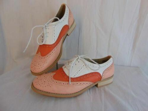 New Wanted Babe White 8.5 Womens Wing Tip Perforated