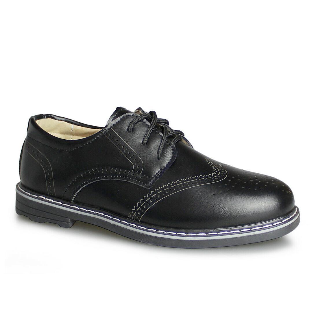 new boys brogue classic dress shoes black