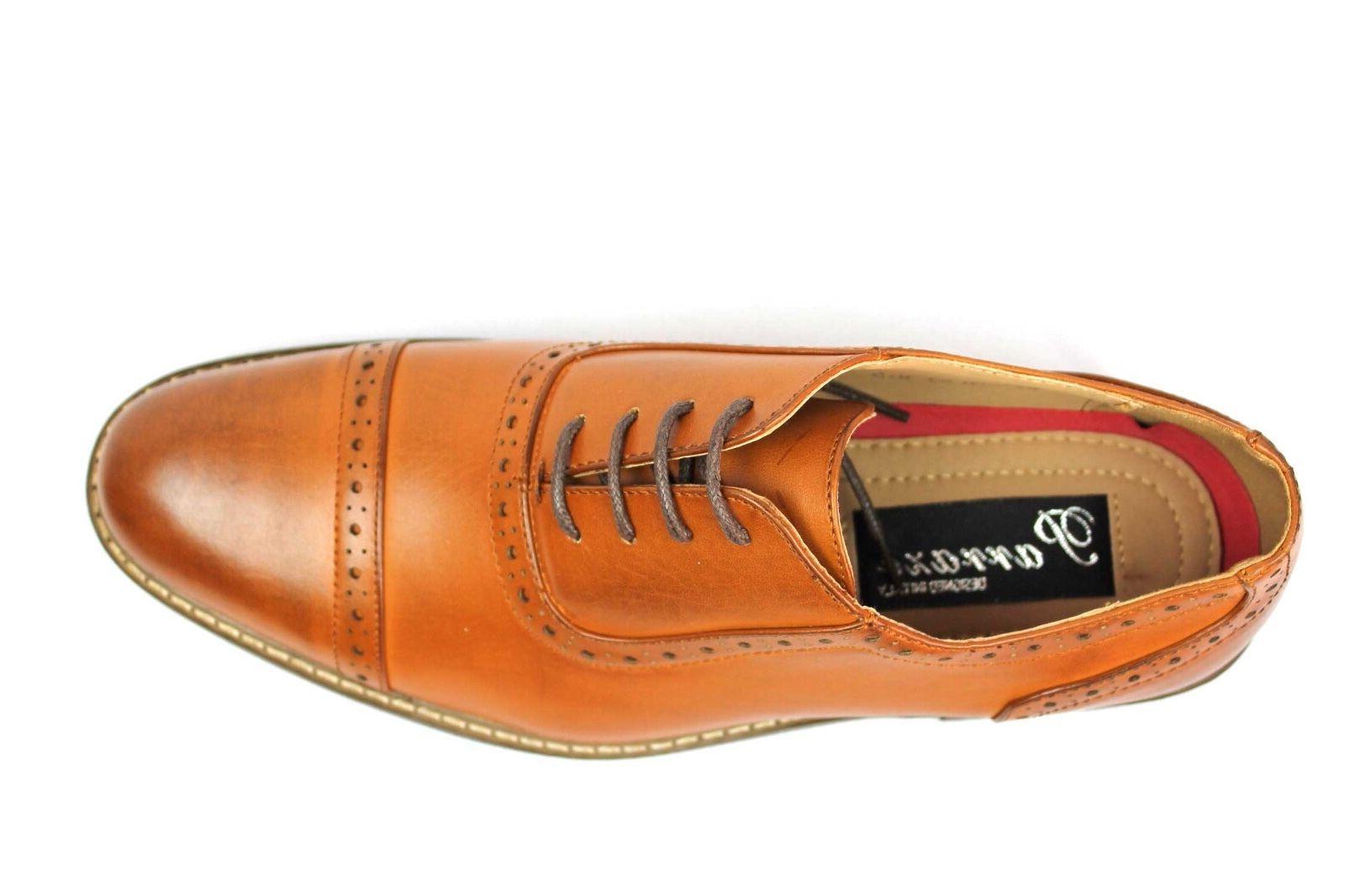 New Men's Brown Dress Shoes Lace Up Parrazo