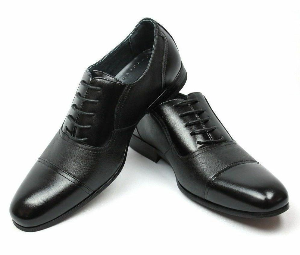new mens black dress shoes cap toe