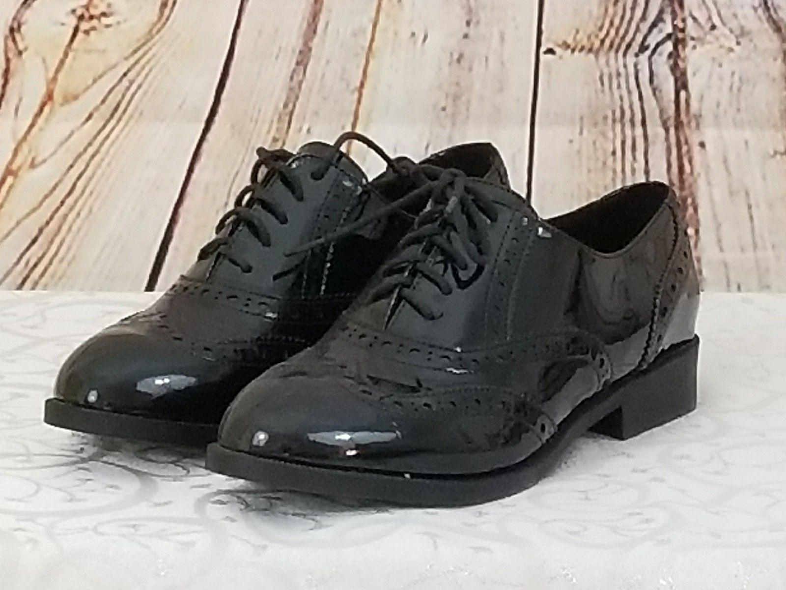 new oxford faux patent leather black ladies