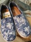 New TOMS women 8 blue floral suede avalons flats shoes oxfor