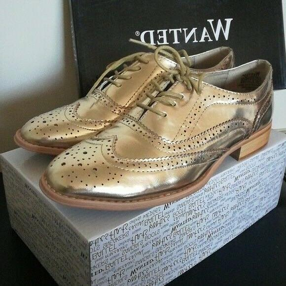nib babe lace up oxfords gold shoes