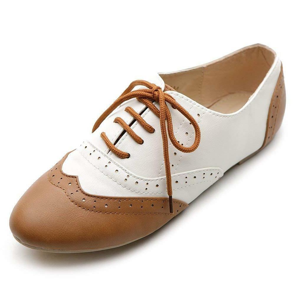 Ollio Women's Shoe Classic Lace Up Dress Low Flat Heel Oxfor