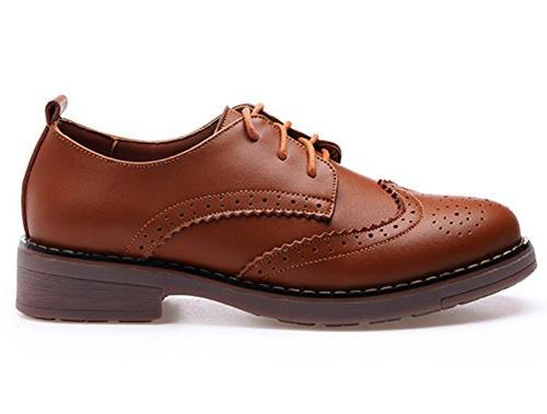 DADAWEN Women's Perforated Lace-up Wingtip Leather Flat Vintage Oxford Brown US 7/Asia Size