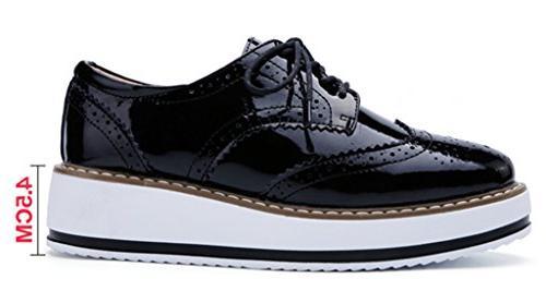 DADAWEN Wingtips Square Toe Shoe Black US Size 9/Asia Size 41/25.5cm