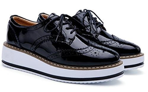 DADAWEN Platform Wingtips Square Shoe Black US 9/Asia Size