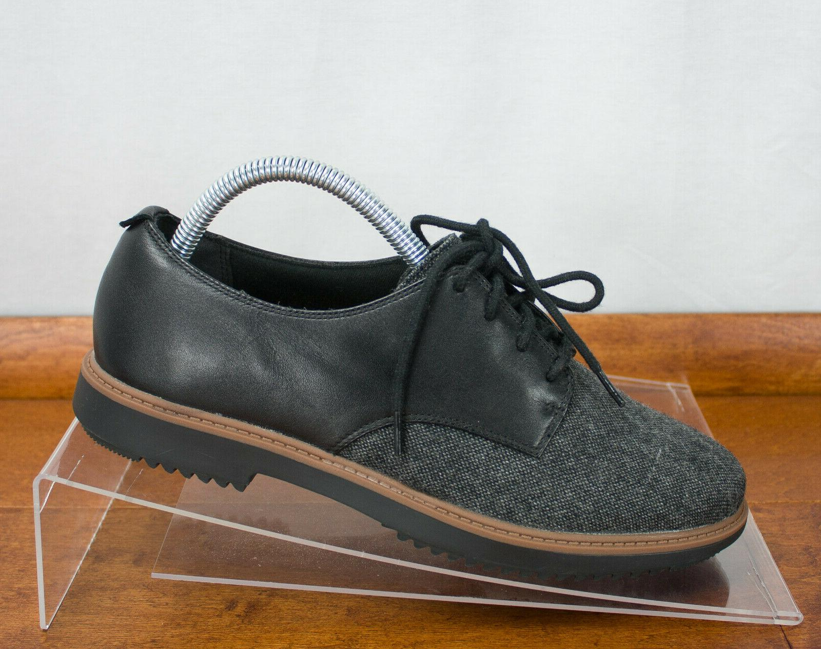 Clarks Leather Gray Tweed Lace Size