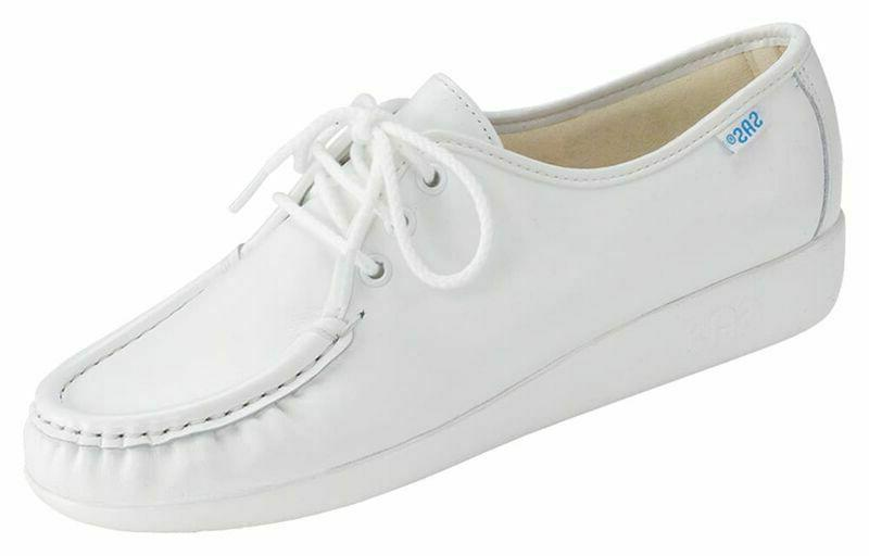 siesta womens white leather walking oxford shoes