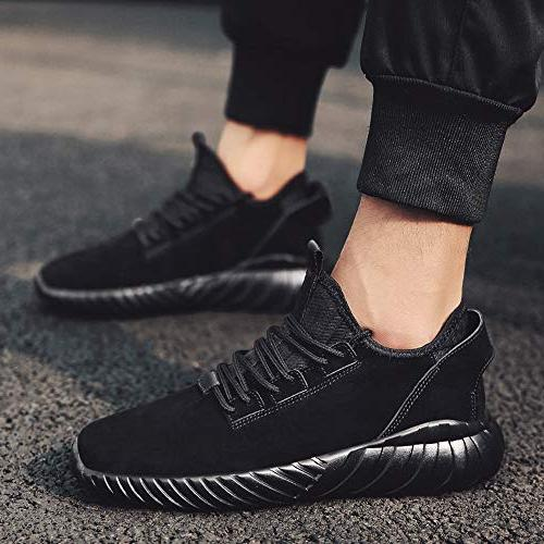 Geetobby Men Fashion Flat Lace-UP Sport Solid Color