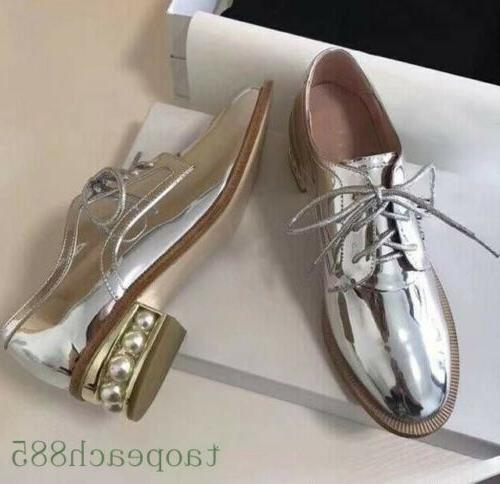 spring women leather oxford shoes round toe