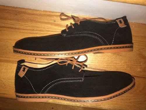 Dadawen 9- 9 1/2 Men's Black Suede Leather Lace Shoes Ebc-