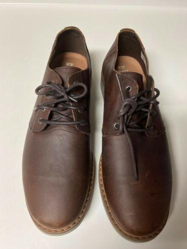 toms mens brown leather lace up shoes