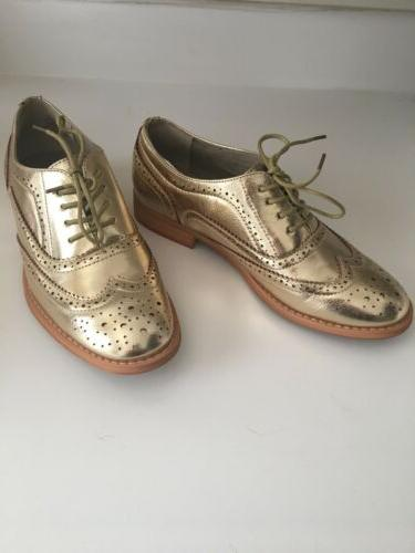 urban outfitter gold metallic oxford loafers brogues