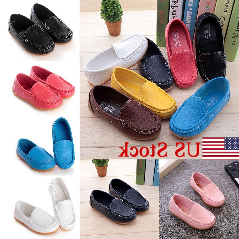 US Kid Boys Girls Soft Loafers Casual PU Boat Shoes Toddler Slip On