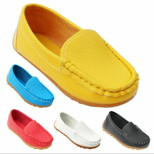 US Kid Toddler Loafers Flats PU Boat