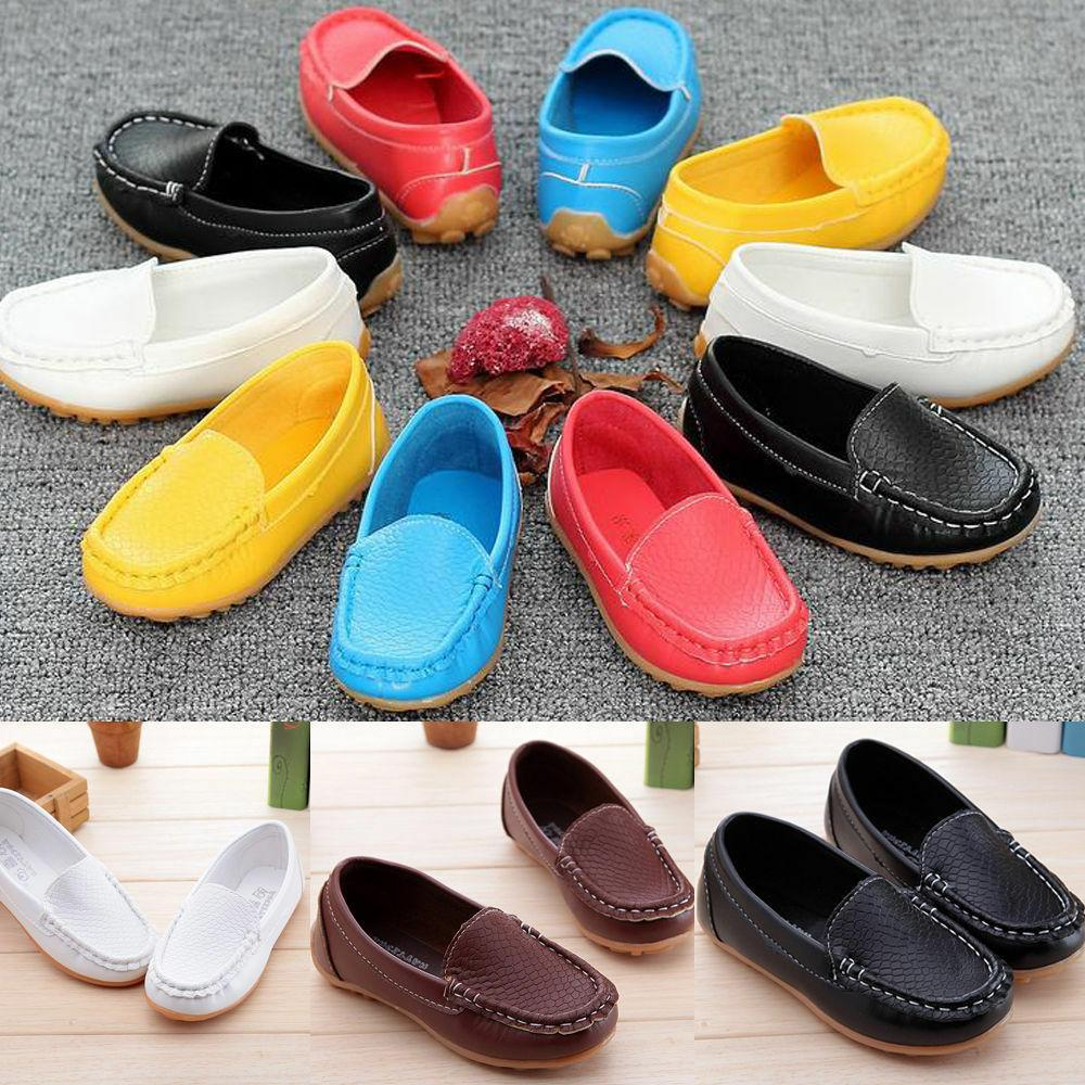 US Toddler Slip On Loafers Flats PU Boat Shoes