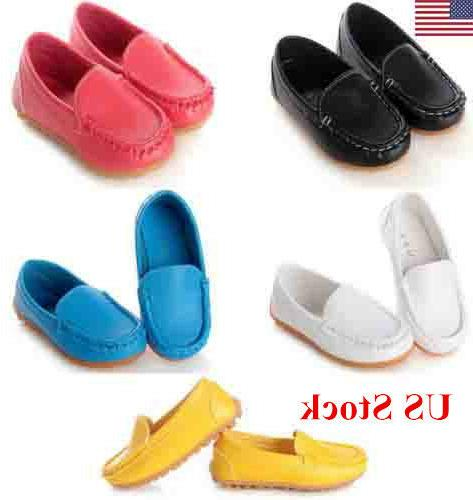 US Kid Toddler Slip Loafers Oxford Flats Casual PU
