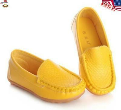 Kids Girls Oxford Boat Loafers Slip On Leather USA