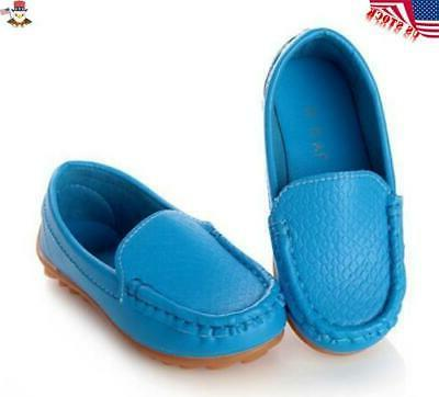 Kids Oxford Flat Loafers Slip Leather Solid