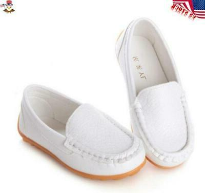 Kids Oxford Flat Loafers Slip On Leather Solid USA