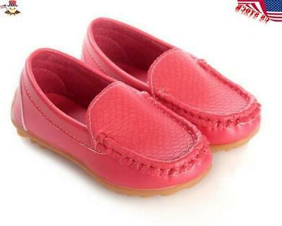 Kids Girls Oxford Boat Shoes Loafers Slip On PU