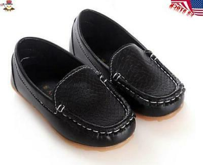 Kids Boys Girls Oxford Flat Loafers Slip On Leather Solid USA