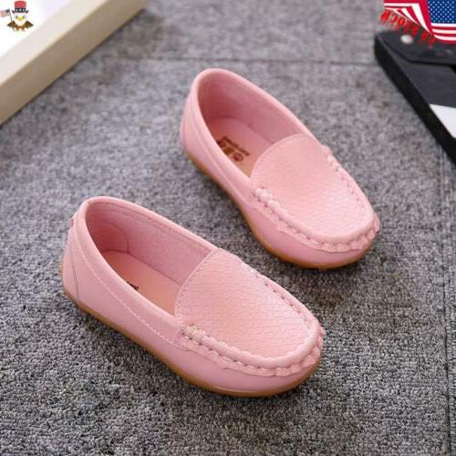 Kids Oxford Boat Loafers Slip On PU