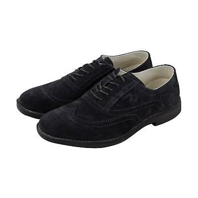 Hey Dude Vinci Mens Blue Suede Casual Dress Lace Up Oxfords