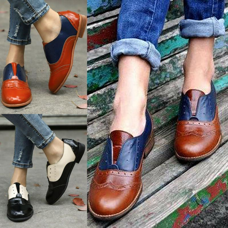 Women Casual Flats Brogues Lace Up Summer Work Loafers Size