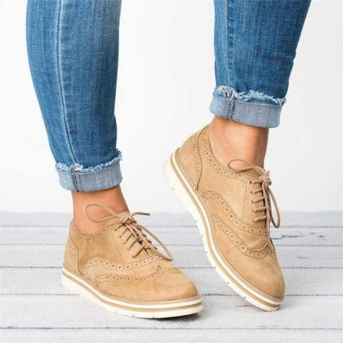 Women Casual Tip Brogues Dress Loafers Flats Shoes