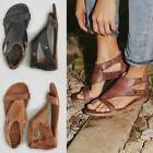 Womens Gladiator Sandals Summer Beach Flat Heel Peep Toe Cas