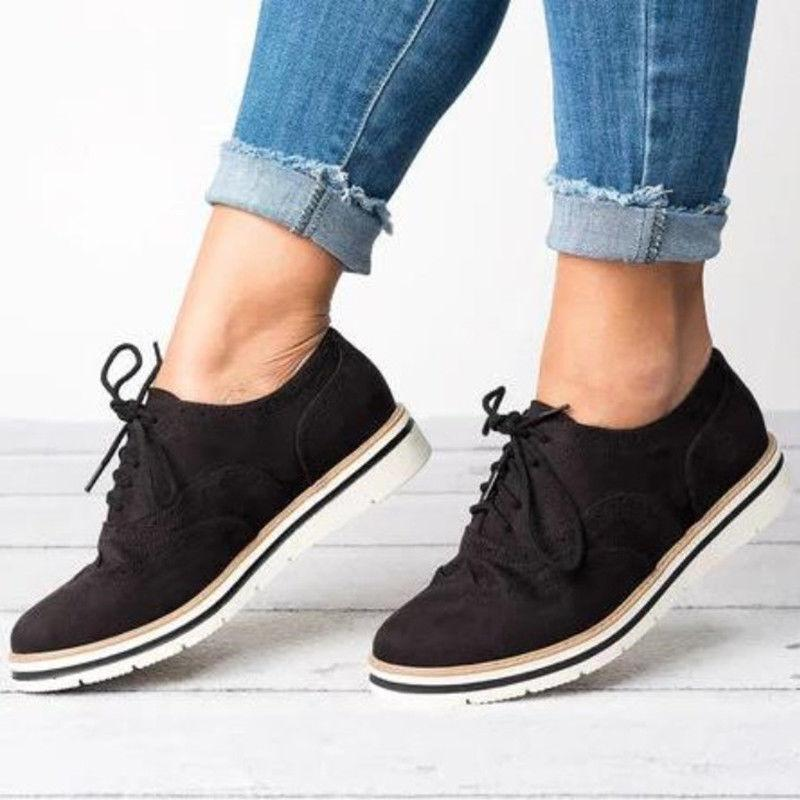 Women's Casual Brogues Oxfords Formal Stitched Lace