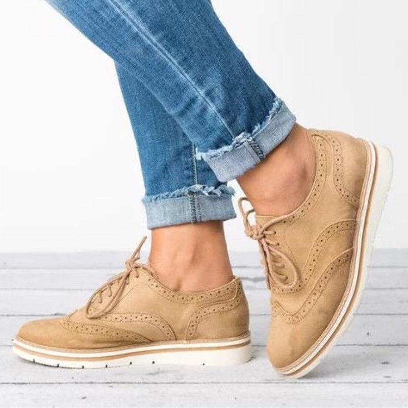 Women's Casual Shoes WingTip Brogues Oxfords Stitched Lace