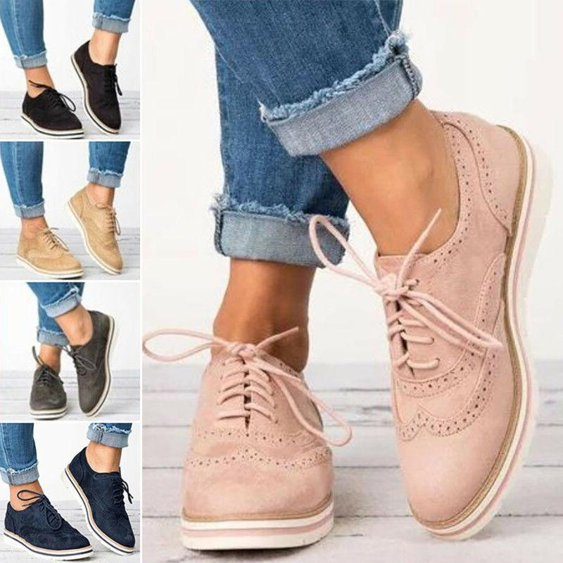 Women's Casual Shoes WingTip Brogues Oxfords Dress Formal Stitched Lace Up Flats