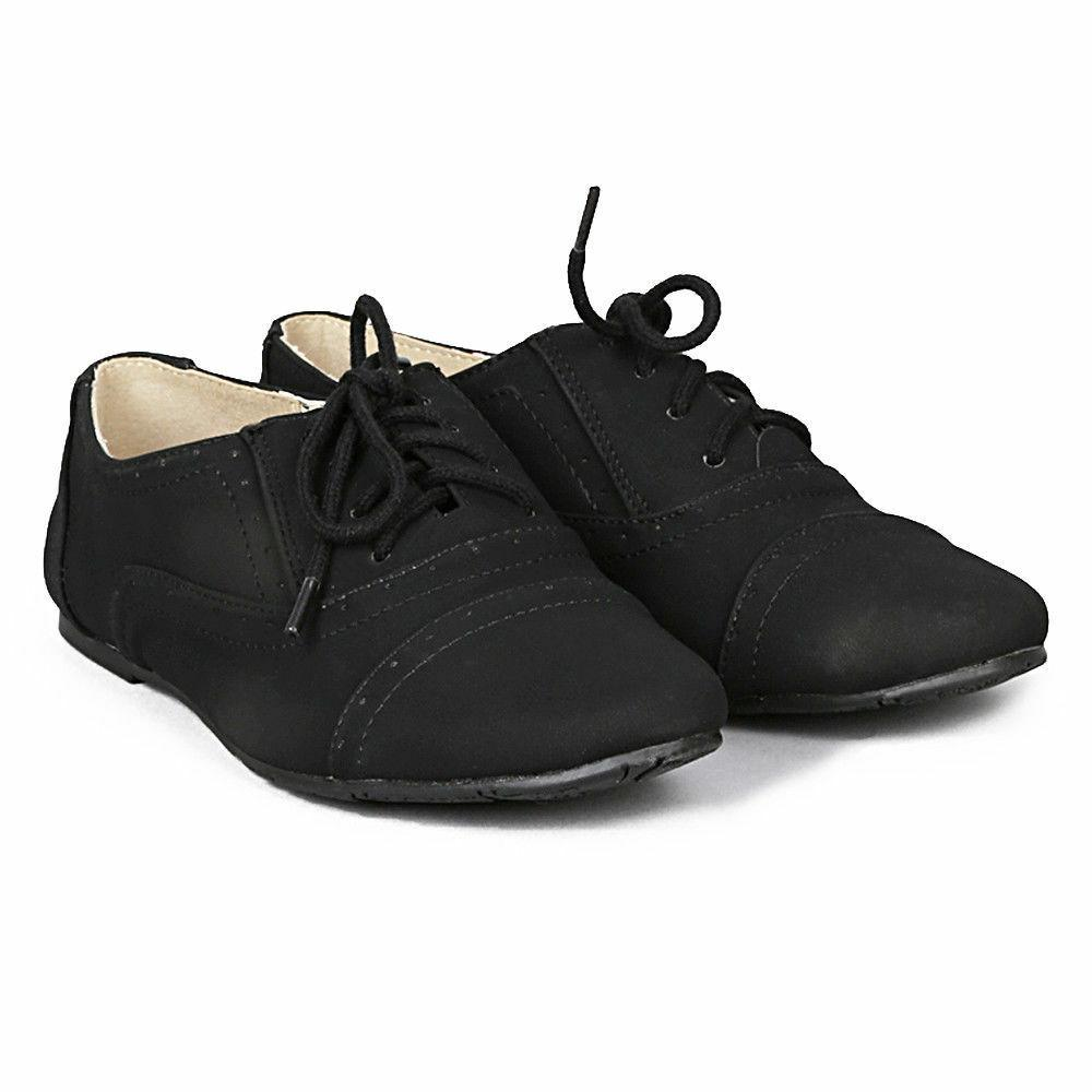 Women's Classic Oxford Lace Up Flats Sneaker Comfort Dress F