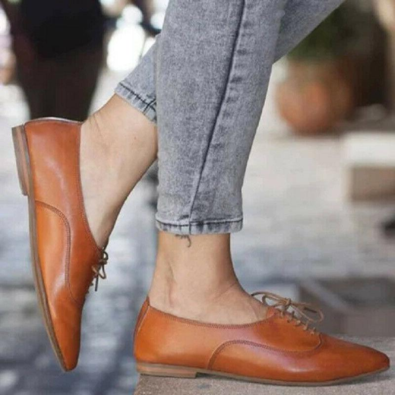 Women's Heel Oxfords Brogues Lace Up Toe Shoes