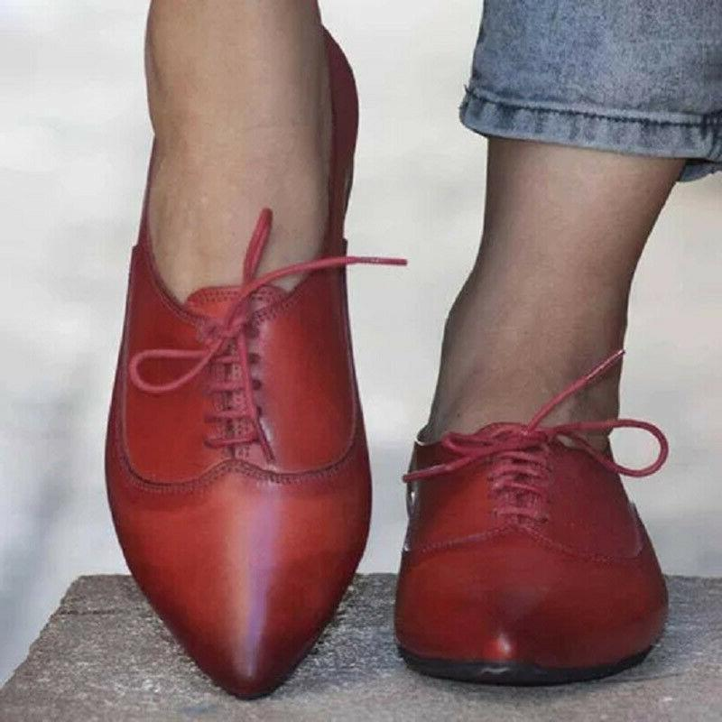 Women's Flat Heel Oxfords Brogues Lace Toe Casual Shoes