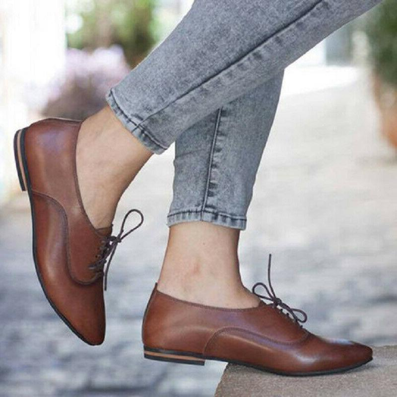 Women's Heel Brogues Lace Toe Shoes