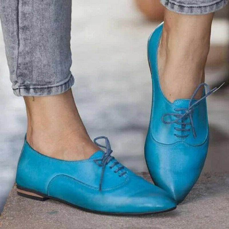 Women's Brogues Lace Up Pointed Toe Pumps Shoes