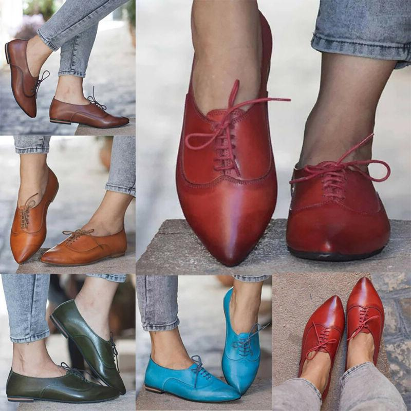 Women Oxfords Brogues Lace Work Loafers Shoes Size