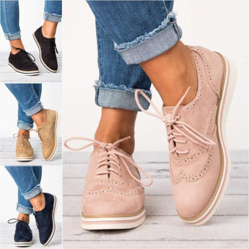 WOMEN'S FLAT OXFORDS SHOES LADIES LACE UP VINTAGE SMART OFFI